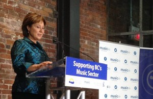 Premier Christy Clark announces $15-million grant towards a BC Music Fund in a media conference at Warehouse Studio in Vancouver Photo courtesy: Music Canada