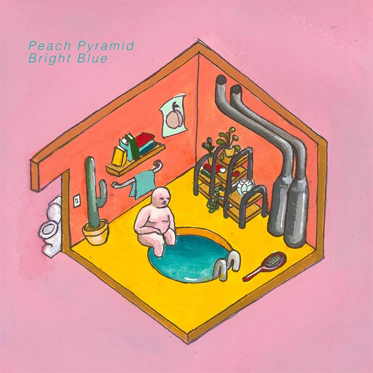 Peach Pyramid- Bright Blue