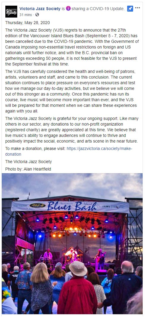 Vancouver Island Blues Bash Cancelled